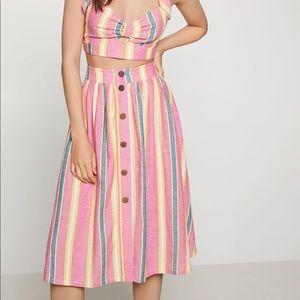 BCBGeneration Sunrise Stripe A-Line Midi Skirt